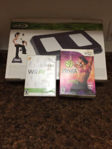 Wii exercise board and games