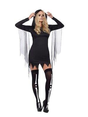 Fever Sexy Sensenmann Damen Kostüm Schwarz mit kurzem Kapuzenkleid - Schwarze Kapuzen Kostüm