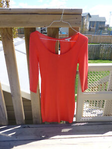 Guess Coral Red Three Quarter Sleeve Dress - Never Worn