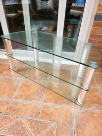 John Lewis Glass Silver Chrome TV Stand Corner Unit