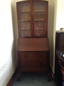 1930's writing desk with display cabinet