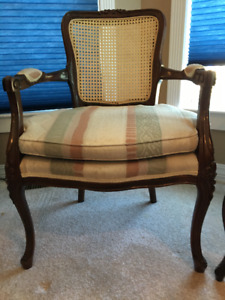 French Provincial Rattan back Chairs