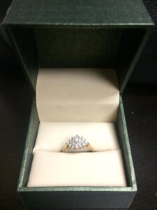 14K gold ladies cluster diamond ring w/ certificate of appraisal