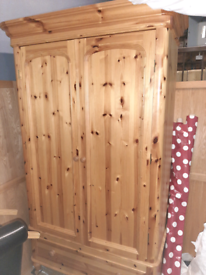 Pine double wardrobe with drawer at bottom