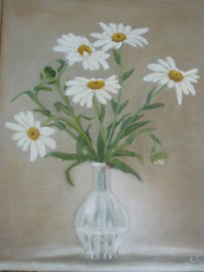 """White Daisies, 16"""" x 20"""" Oil Painting on canvas London Ontario image 1"""