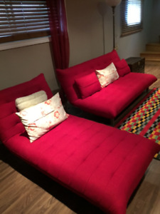 SLICK RED COUCHES/SLEEPERS