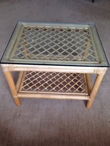 Two Matching Glass Top Cane End Tables.