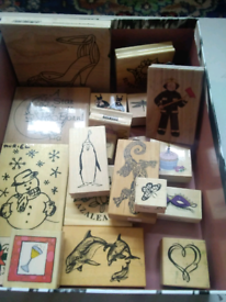 Box of wooden stamps