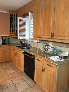SOLID OAK KITCHEN CABINETS WITH GRANITE