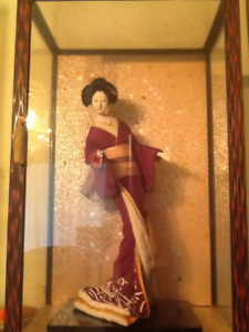 Antique Porcelain Japanese Geisha Doll with Glass Case
