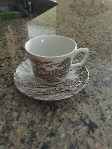 Staffordshire Ridgeway pattern Antique teacup and saucer