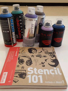 6 cans MTN spray paint and stencil book
