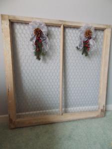 Vintage Wood Frame Window Decor Holder