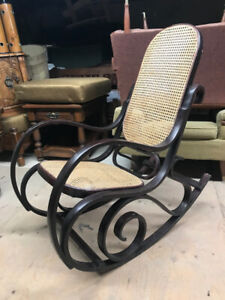 Beautiful antique bent wood and rattan rocking chair