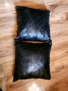 Black leather pillows