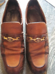 Fendi Leather Two Tone Dress Shoes Loafers Made In Italy Mens