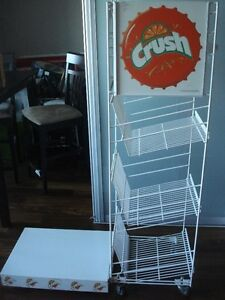 Vintage Orange Crush Metal Display and Bottle Rack Shelves $200
