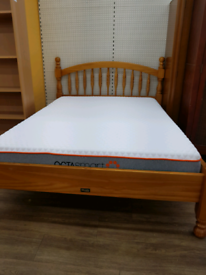 Double pine bed frame with octasmart memory foam mattress