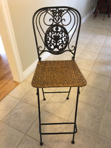 3 Metal and wicker bar/island chairs
