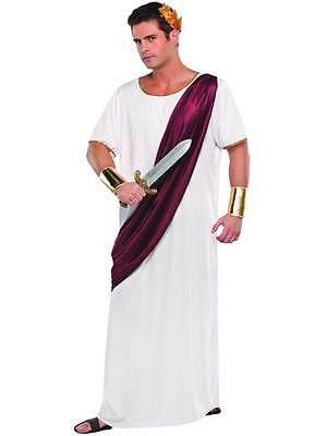 Mens Greek Grecian Julius Caesar Roman God Toga White Fancy Dress Costume Outfit