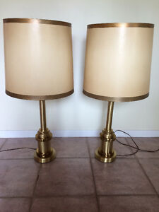 Vintage heavy brass lamps - good shades