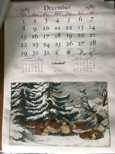 Travelers Insurance Calendar with Currier and Ives litho prints