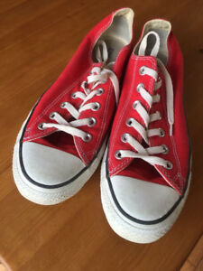 Red Converse 7 1/2 men's or 8 1/2 women's