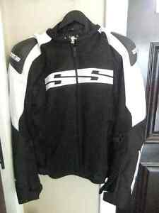 ss speed strenth black and white motorcycle jacket with liner xl