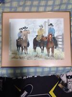 Cowboy painting. Water color print.