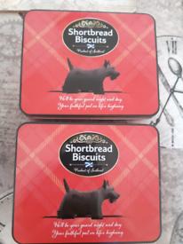 2x empty storage tins £ 0.50p