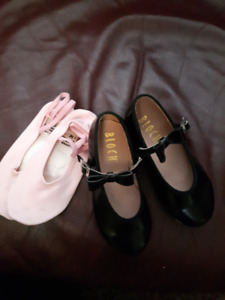 LITTLE GIRLS TAP SHOES AND BALLET SLIPPERS - SIZE 9