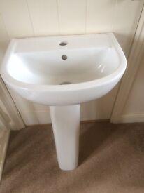 Small washbasin and pedestal
