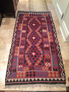 "VINTAGE HAND KNOTTED AFGHAN RUG 6'6"" X 3'3"""