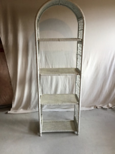 Vintage White Wicker Standing Shelf (4 shelves)  and Wall Shelf