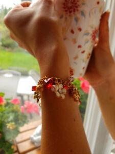 Red Swarovski Crystal and Gold Charm Bracelet