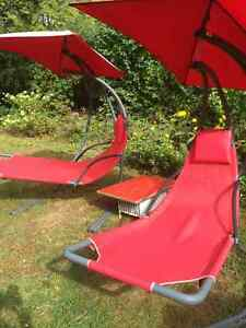Red Swinging Hammocks