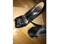 Black 4 inch satin look high heels