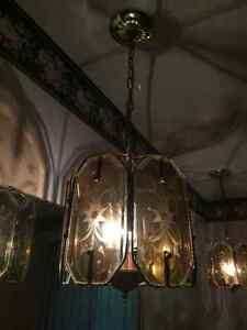 Set of two polished brass lights with starburst pattern Kitchener / Waterloo Kitchener Area image 1