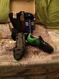 Cleats and Shin Guards, Size 12, 13 Boys