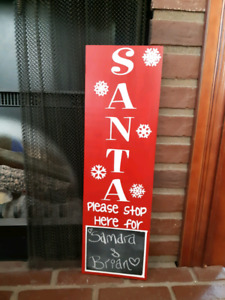 Christmas Santa please stop here sign