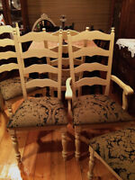6 Restored Refinished AND Reupholstered Ladderback Dining Chairs