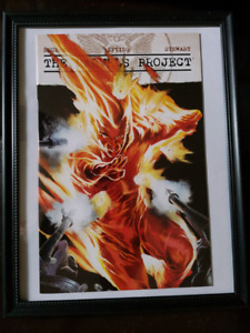 Marvels Project featuring Human Torch framed comic book.