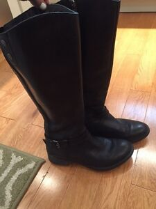 Black real leather wide calf knee high boot Bussola brand name