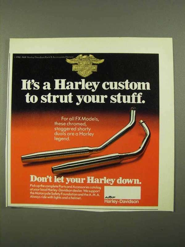 1981 Harley-Davidson Staggered Shorty Duals Ad