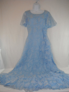 Small Handmade vintage, floral pattern, baby blue, floor length
