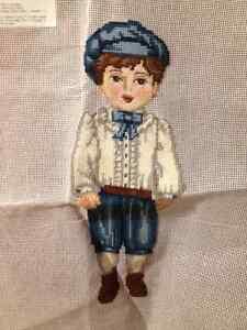 Vintage Little Boy Blue Needlepoint Panel