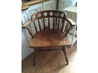 Vintage solid bentwood captains chair