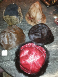 Mink Fur And Leather Hats Caps New