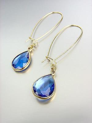 GORGEOUS Urban Artisanal Blue Sapphire Crystal Gold Wire Dangle Earrings