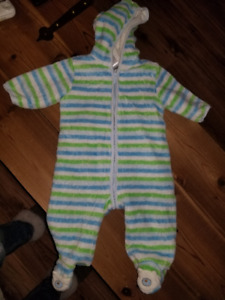 Striped fleece snowsuit